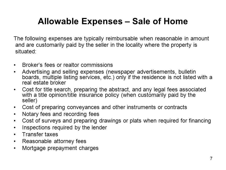 Allowable Expenses – Sale of Home