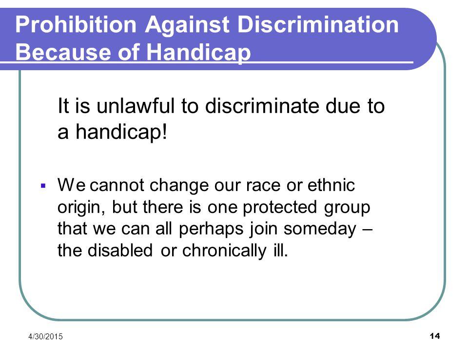 Prohibition Against Discrimination Because of Handicap