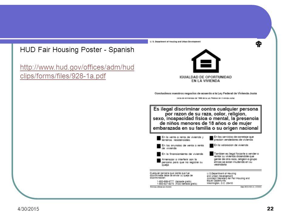 HUD Fair Housing Poster - Spanish