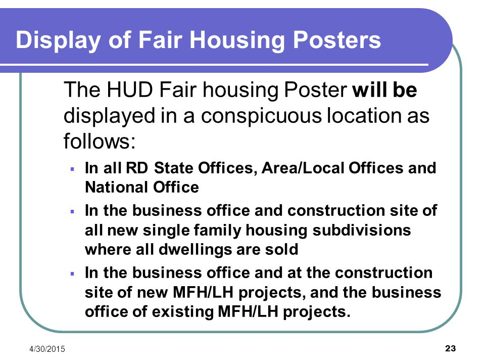 Display of Fair Housing Posters