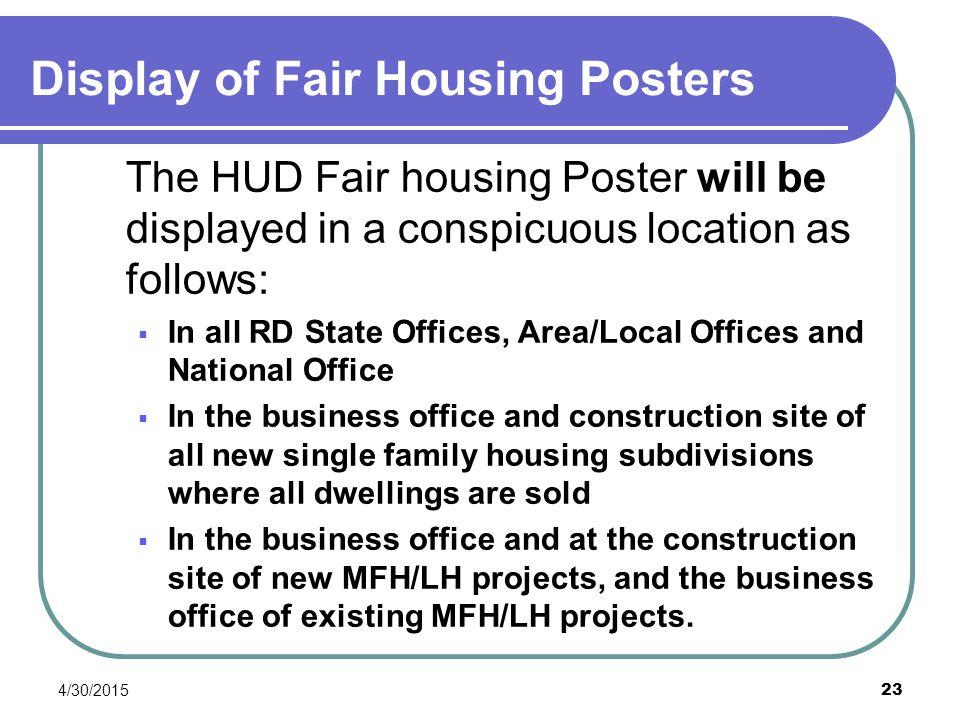 Display of Fair Housing Posters