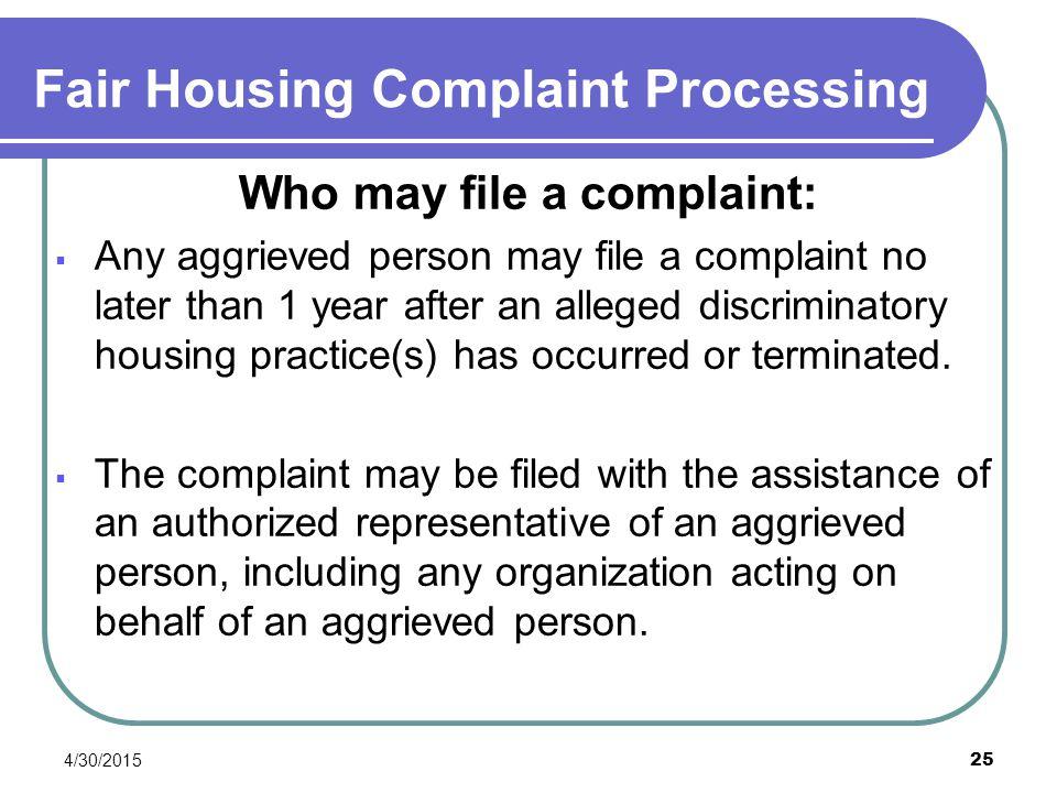 Fair Housing Complaint Processing