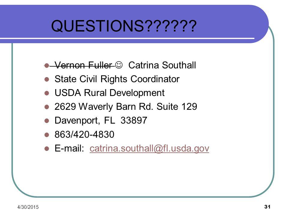 QUESTIONS Vernon Fuller  Catrina Southall