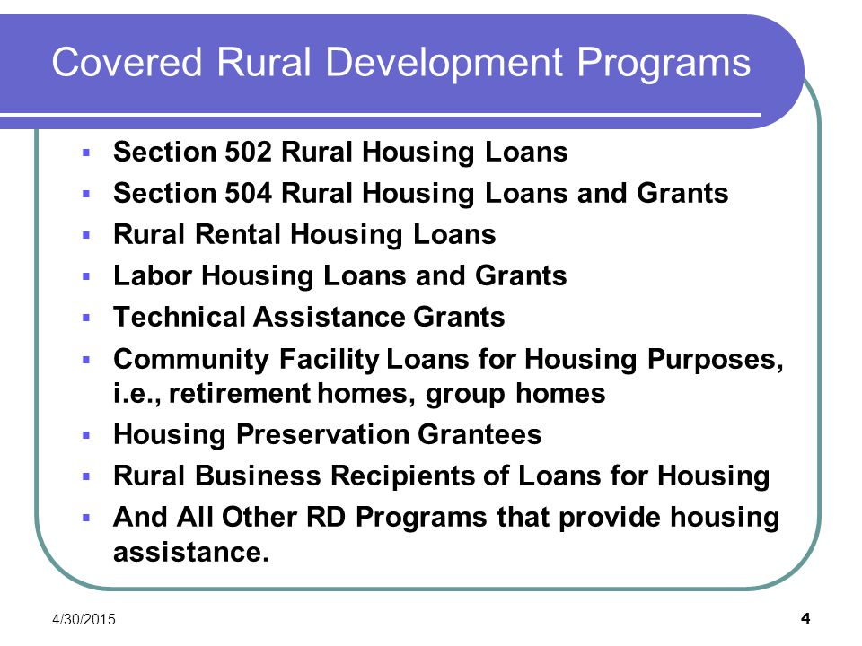 Covered Rural Development Programs