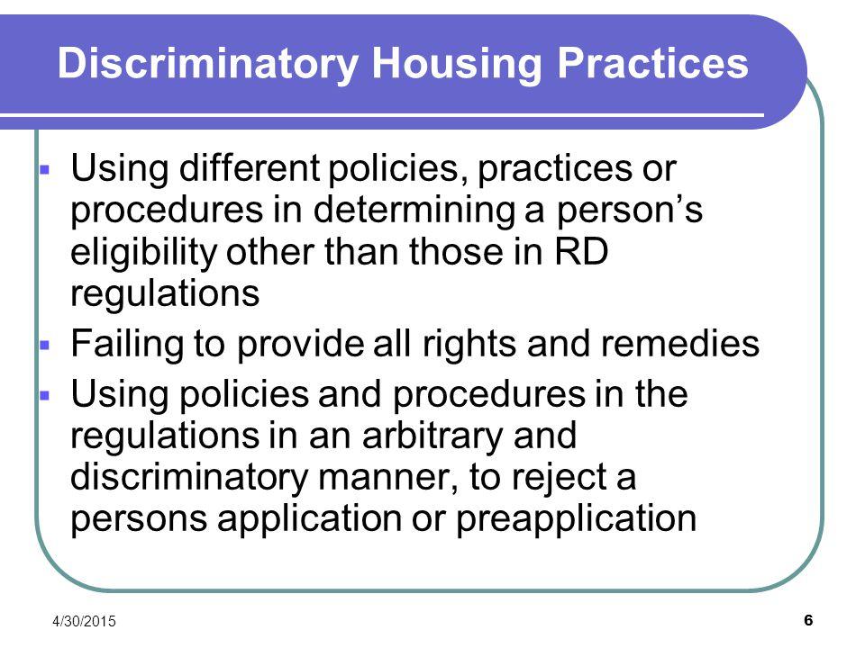 Discriminatory Housing Practices