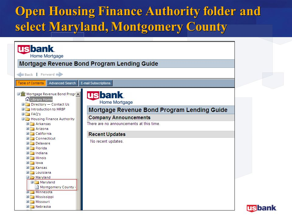 Open Housing Finance Authority folder and select Maryland, Montgomery County