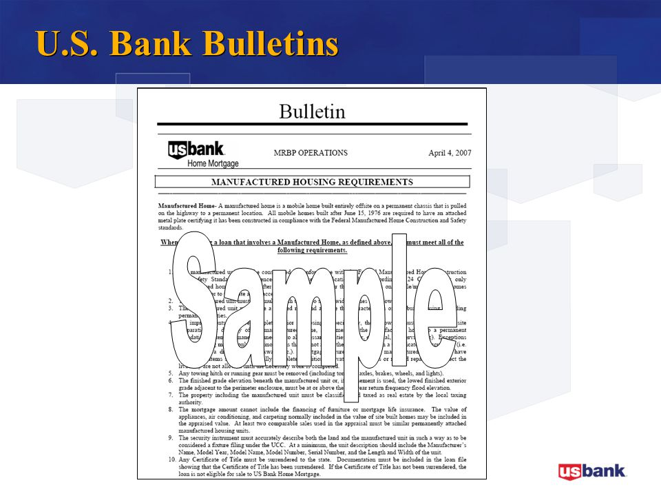 U.S. Bank Bulletins Sample