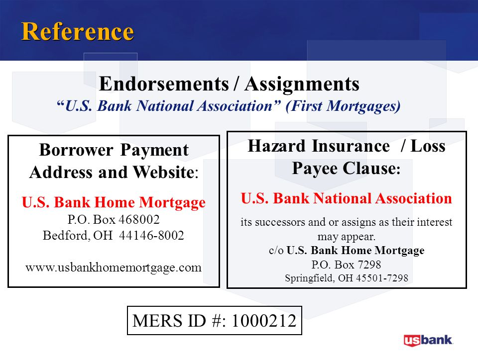 Reference Endorsements / Assignments
