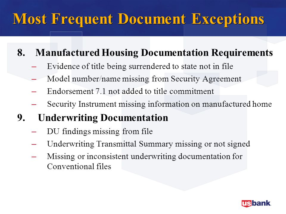 Most Frequent Document Exceptions