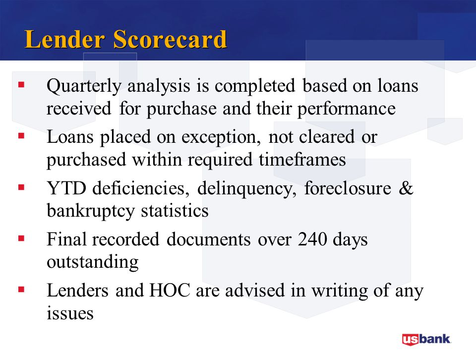Lender Scorecard Quarterly analysis is completed based on loans received for purchase and their performance.