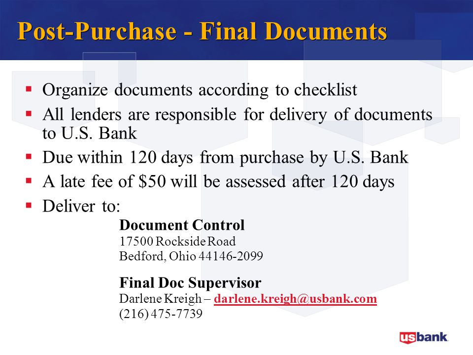 Post-Purchase - Final Documents