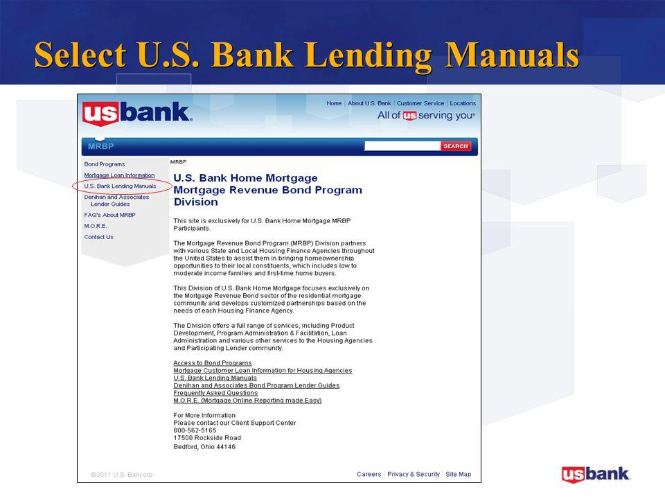 Select U.S. Bank Lending Manuals