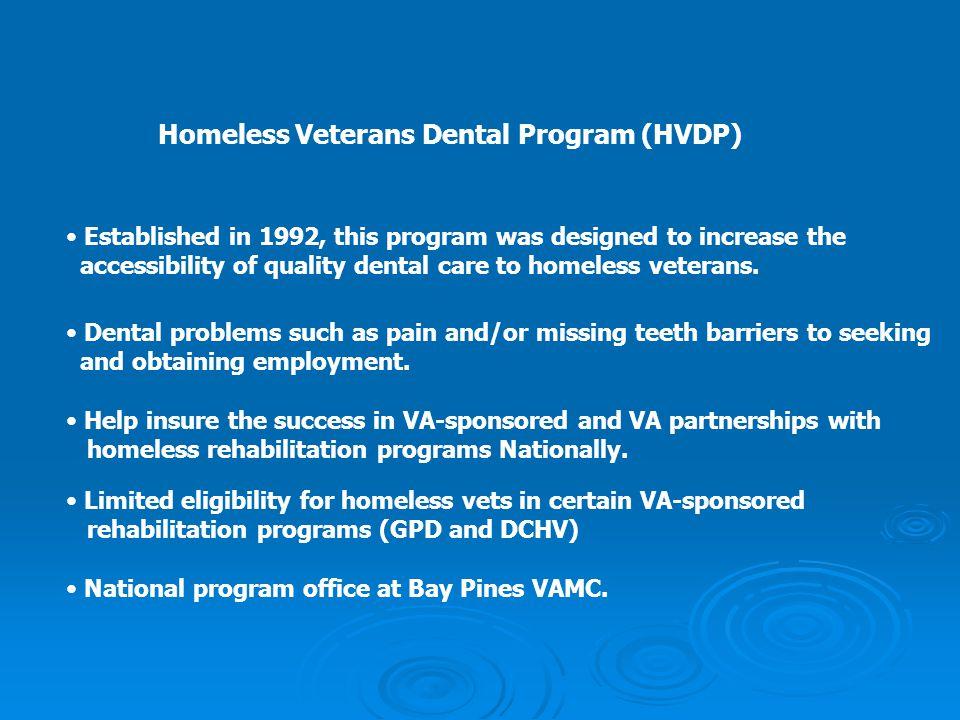 Homeless Veterans Dental Program (HVDP)