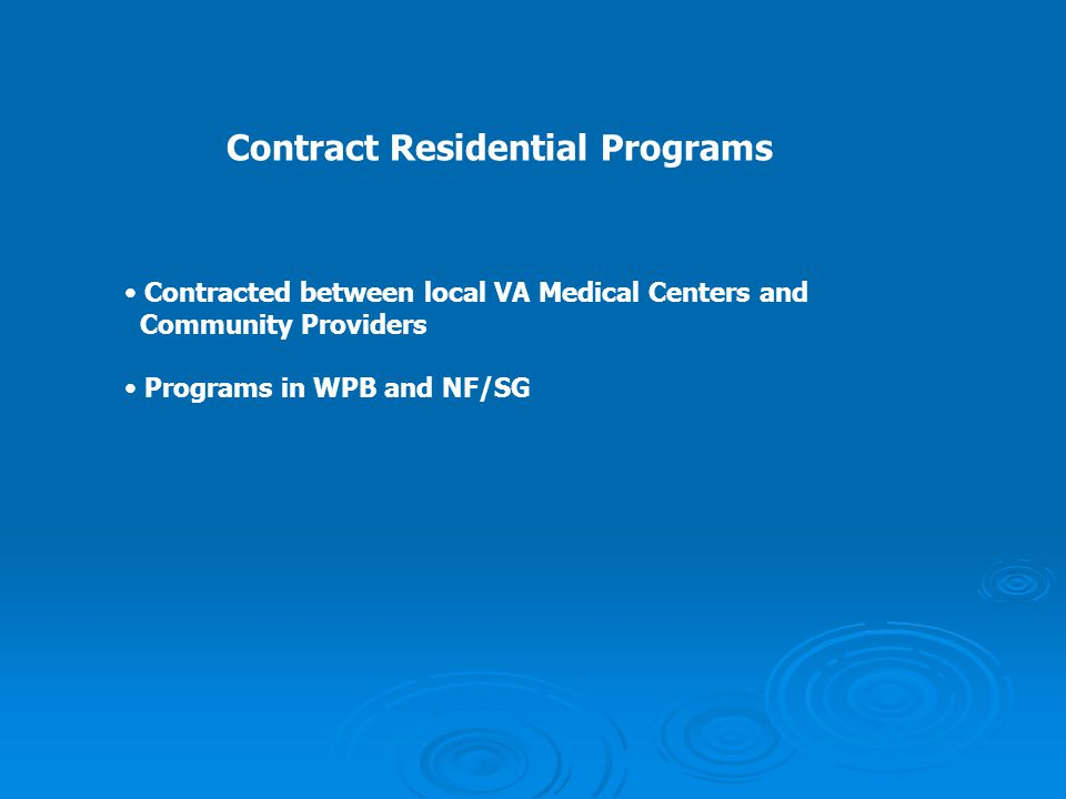 Contract Residential Programs