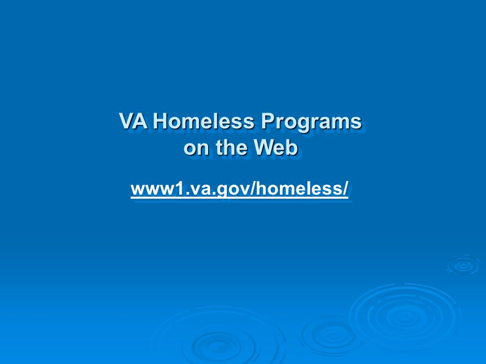 VA Homeless Programs on the Web
