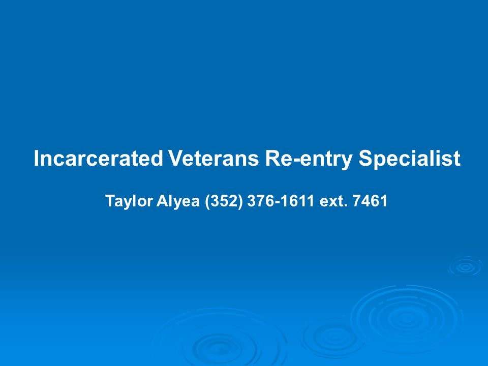Incarcerated Veterans Re-entry Specialist