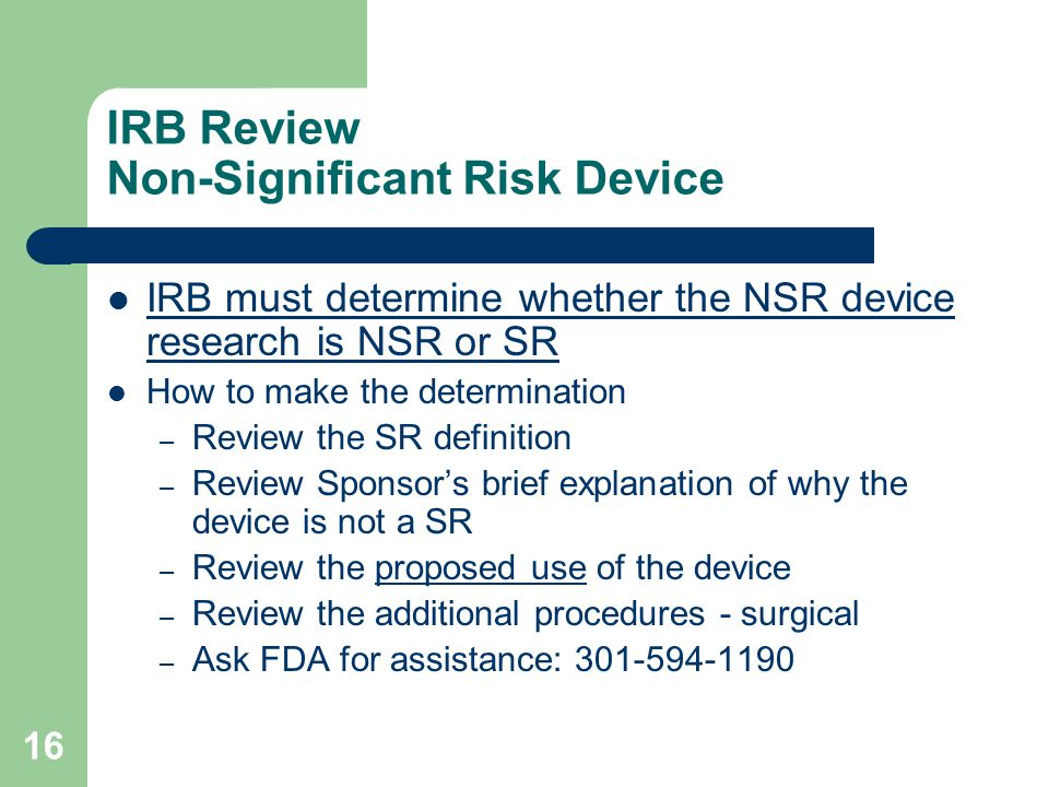 IRB Review Non-Significant Risk Device
