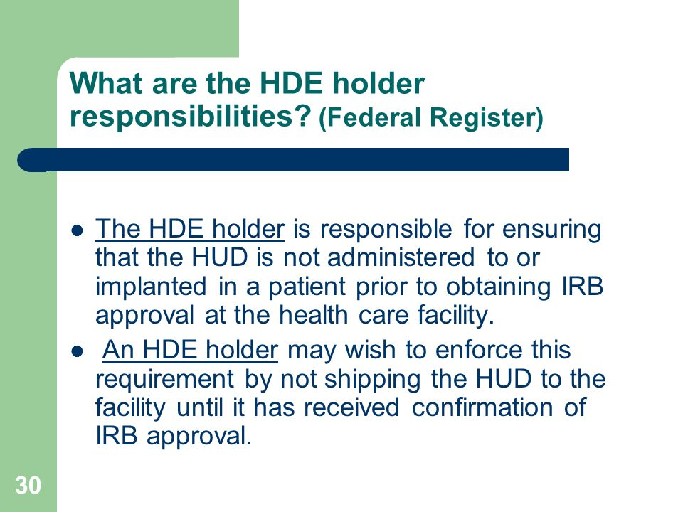 What are the HDE holder responsibilities (Federal Register)