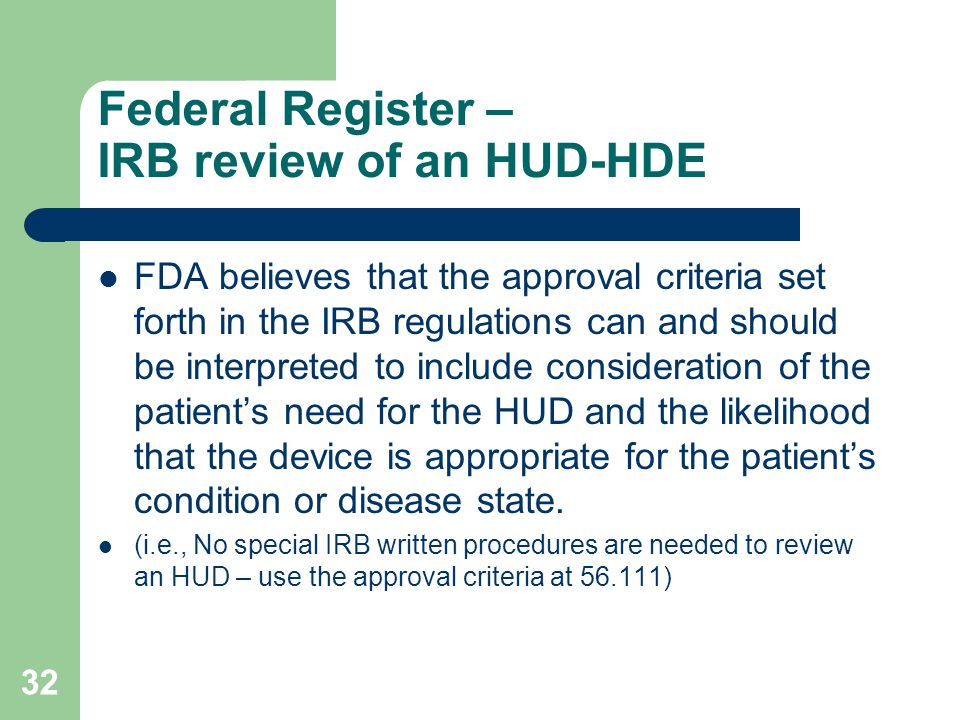 Federal Register – IRB review of an HUD-HDE