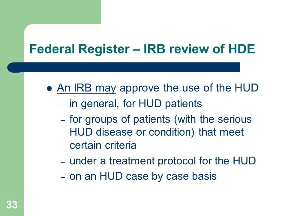 Federal Register – IRB review of HDE