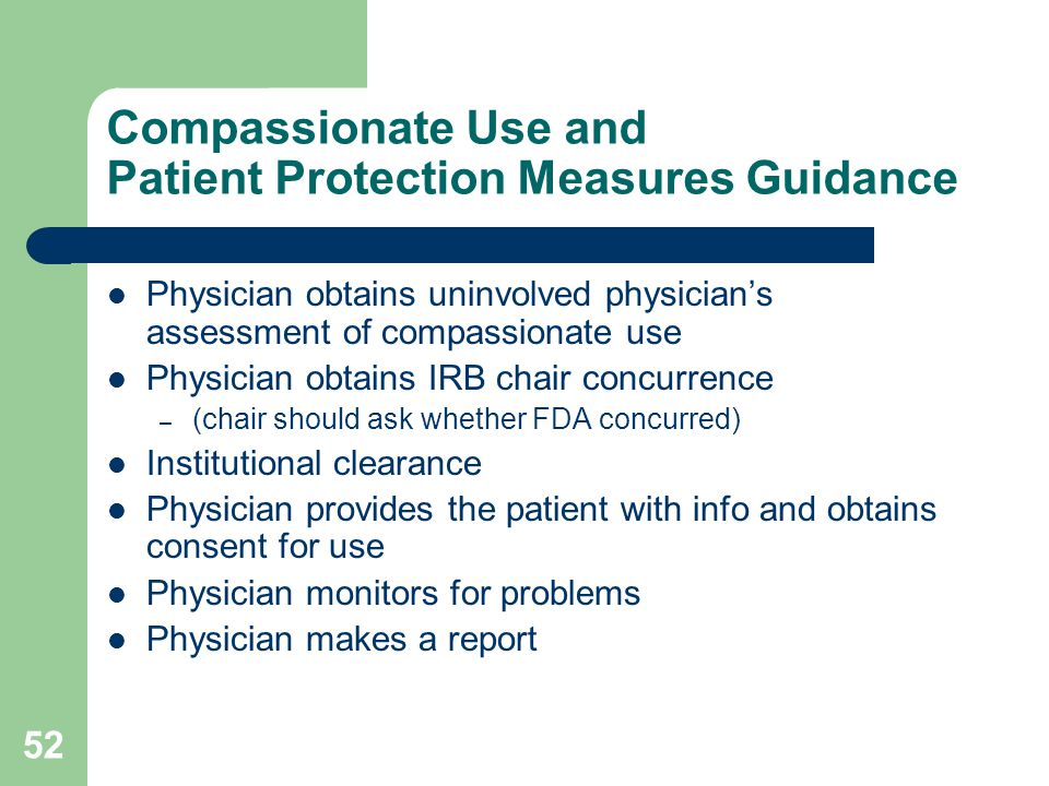 Compassionate Use and Patient Protection Measures Guidance