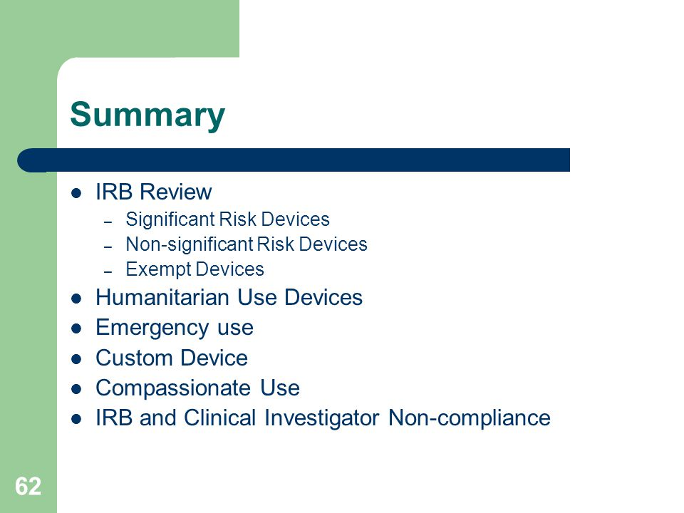 Summary IRB Review Humanitarian Use Devices Emergency use
