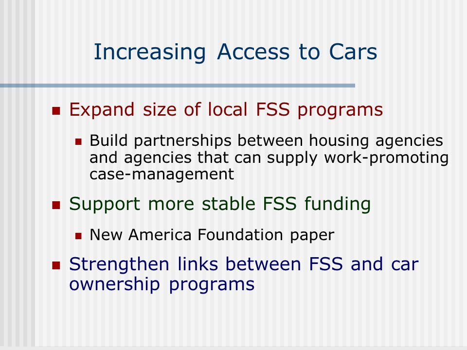 Increasing Access to Cars