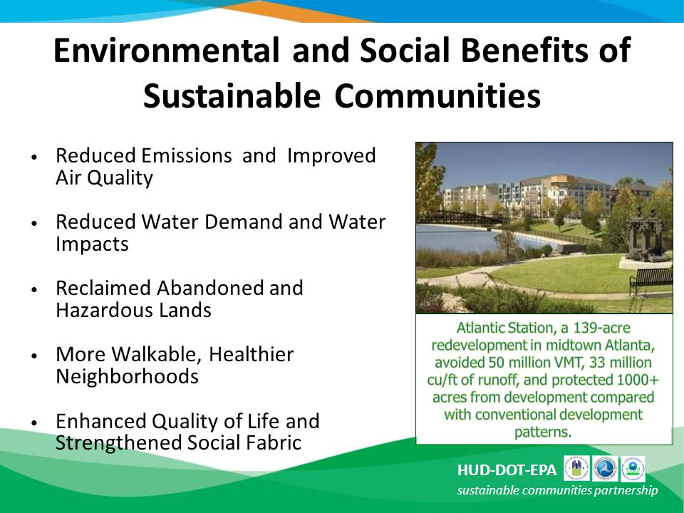 Environmental and Social Benefits of Sustainable Communities