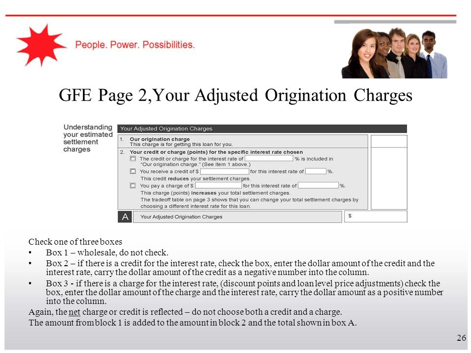 GFE Page 2,Your Adjusted Origination Charges