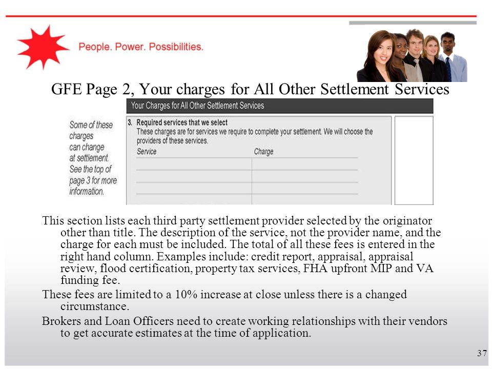 GFE Page 2, Your charges for All Other Settlement Services