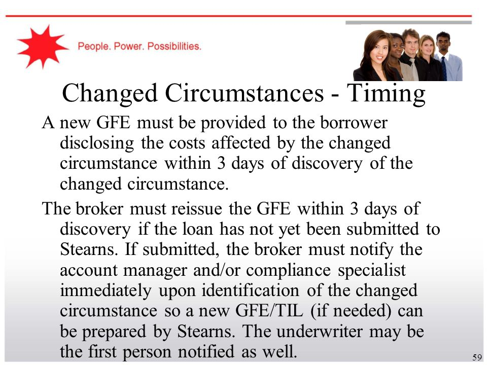 Changed Circumstances - Timing