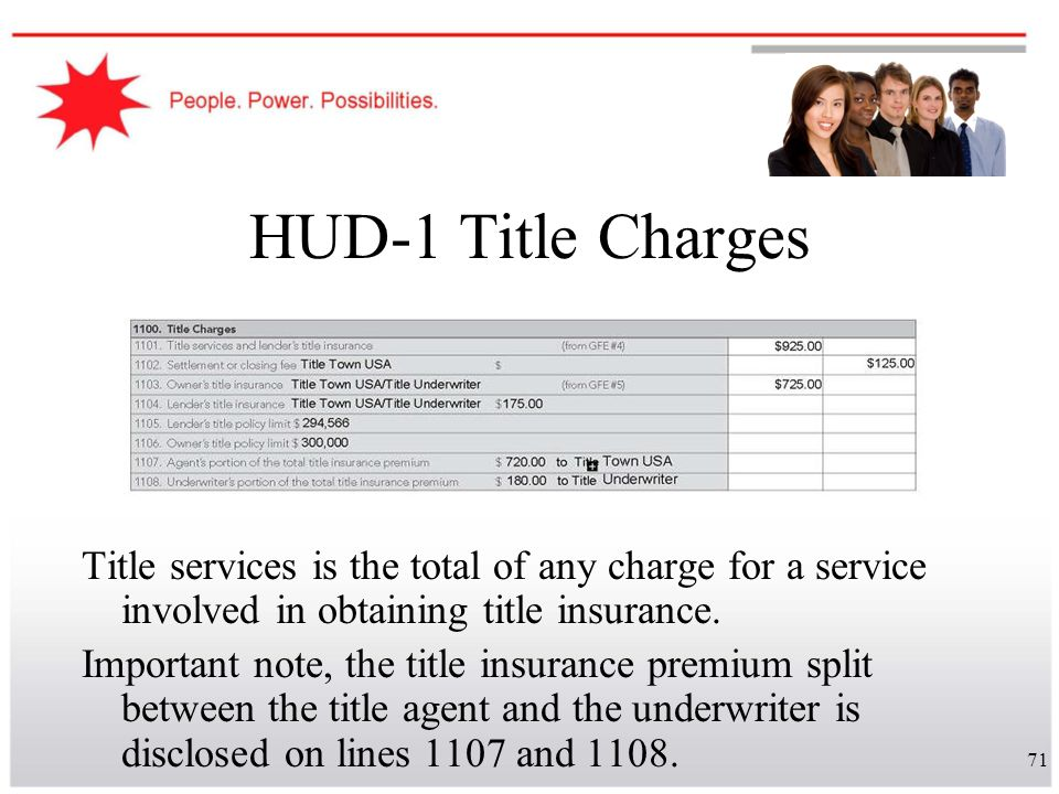 HUD-1 Title Charges Title services is the total of any charge for a service involved in obtaining title insurance.