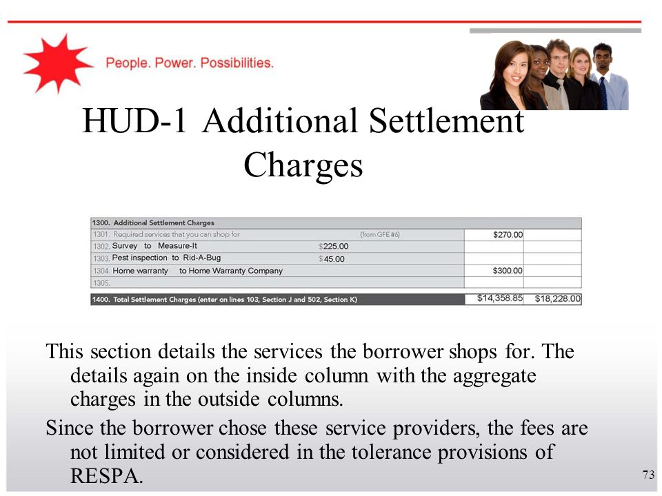 HUD-1 Additional Settlement Charges