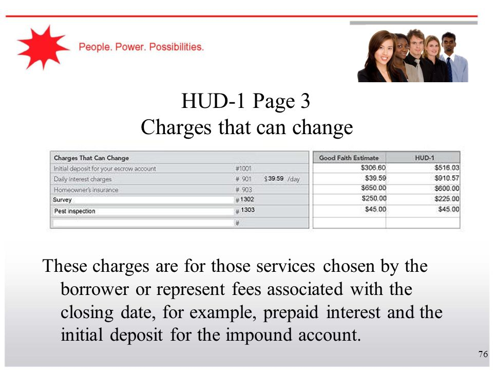 HUD-1 Page 3 Charges that can change