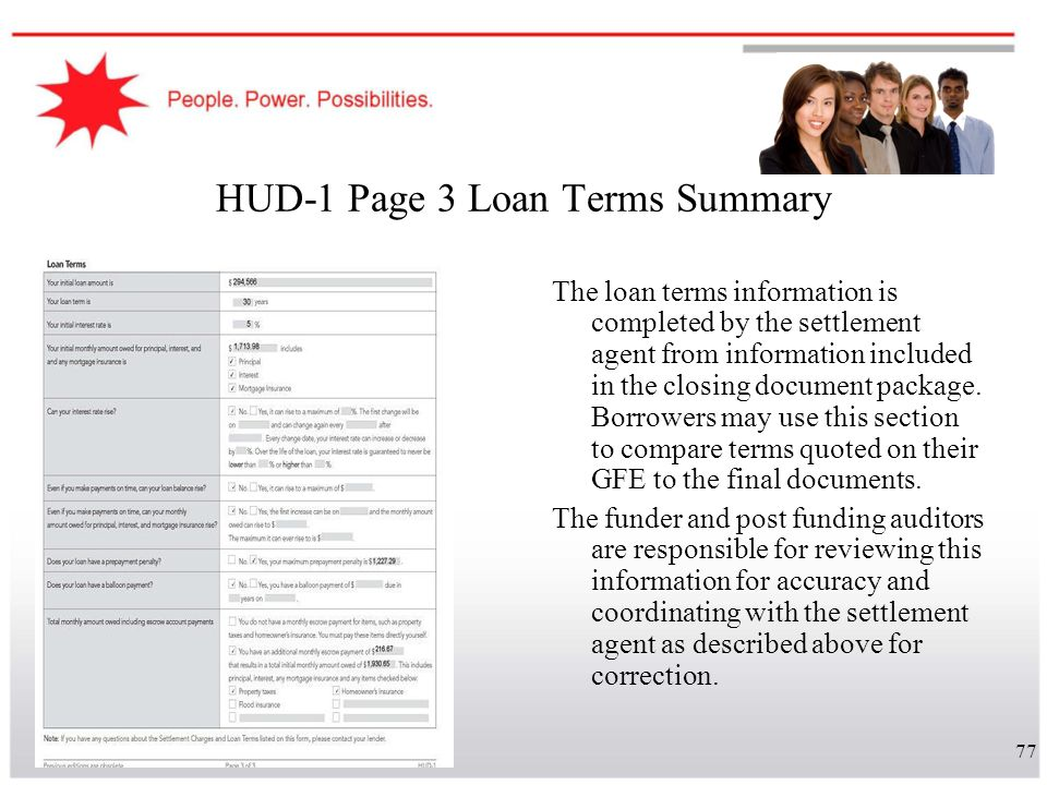 HUD-1 Page 3 Loan Terms Summary
