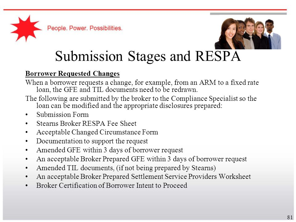 Submission Stages and RESPA