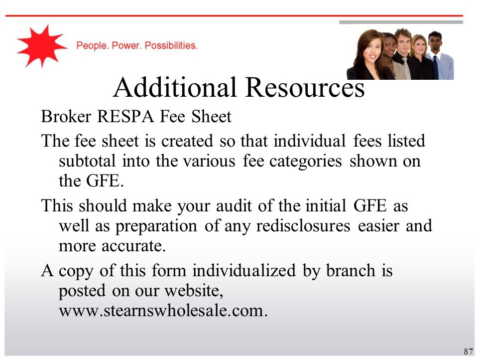 Additional Resources Broker RESPA Fee Sheet