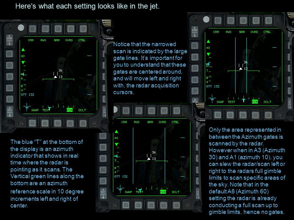 Here's what each setting looks like in the jet.