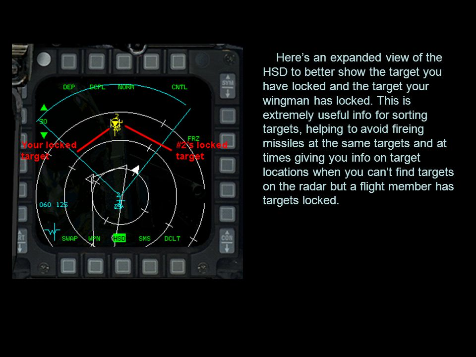 Here's an expanded view of the HSD to better show the target you have locked and the target your wingman has locked.