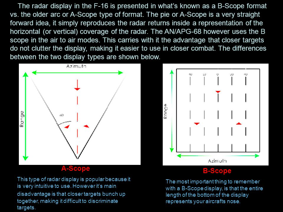 The radar display in the F-16 is presented in what's known as a B-Scope format vs. the older arc or A-Scope type of format. The pie or A-Scope is a very straight forward idea, it simply reproduces the radar returns inside a representation of the horizontal (or vertical) coverage of the radar. The AN/APG-68 however uses the B scope in the air to air modes. This carries with it the advantage that closer targets do not clutter the display, making it easier to use in closer combat. The differences between the two display types are shown below.