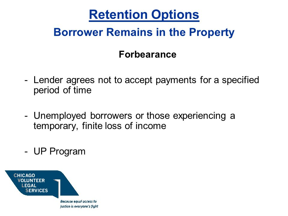 Retention Options Borrower Remains in the Property