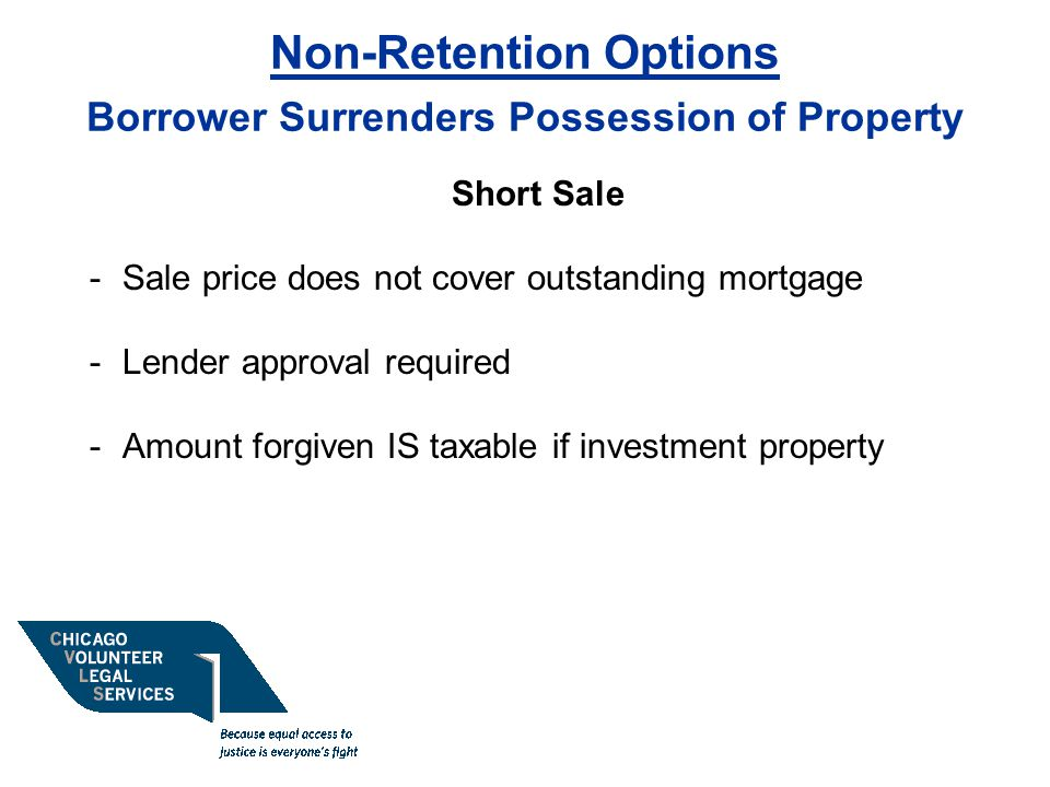 Non-Retention Options Borrower Surrenders Possession of Property