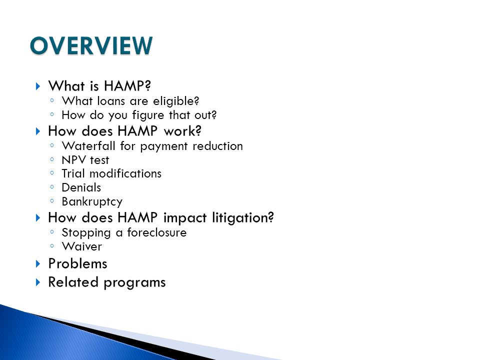 OVERVIEW What is HAMP How does HAMP work