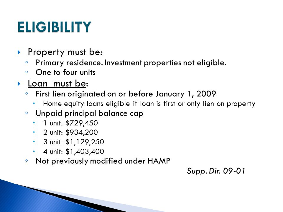 ELIGIBILITY Property must be: Loan must be: