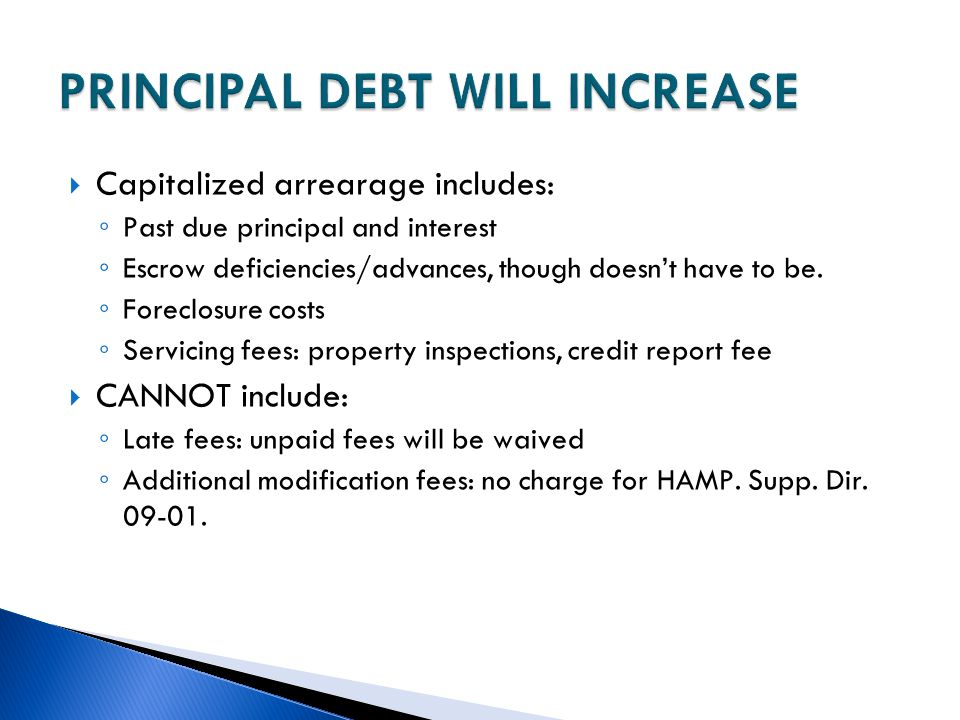 PRINCIPAL DEBT WILL INCREASE