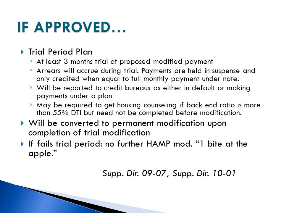IF APPROVED… Trial Period Plan