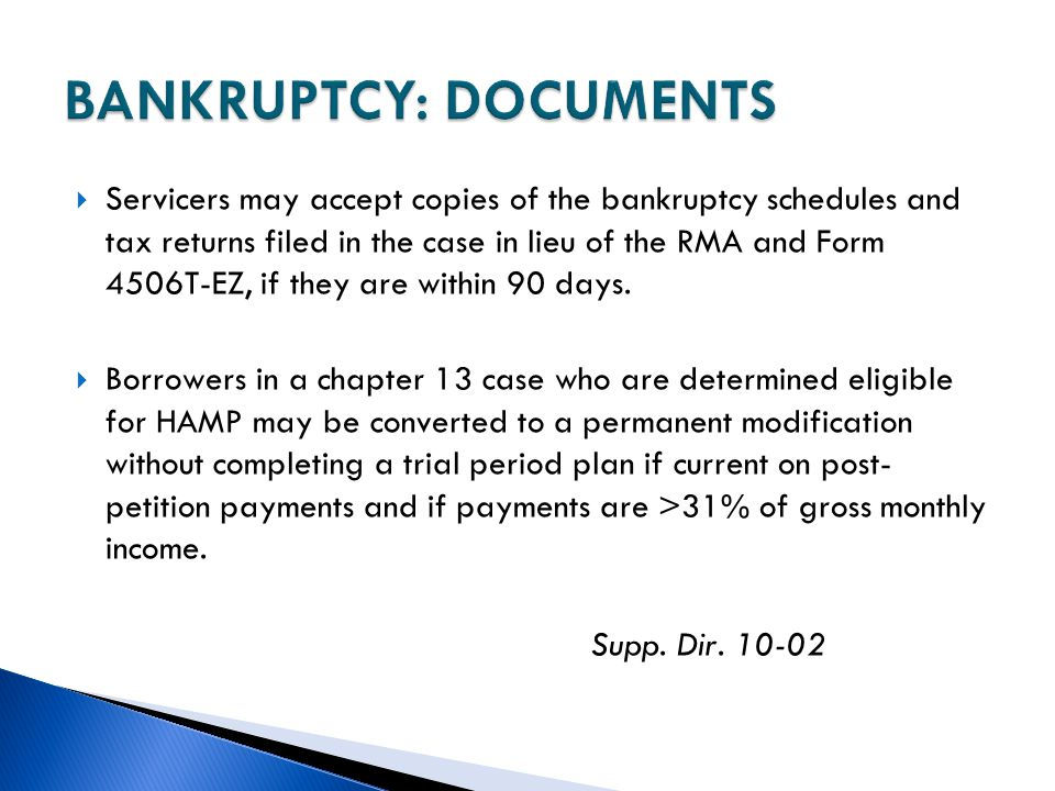 BANKRUPTCY: DOCUMENTS