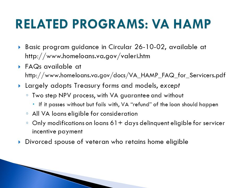 RELATED PROGRAMS: VA HAMP