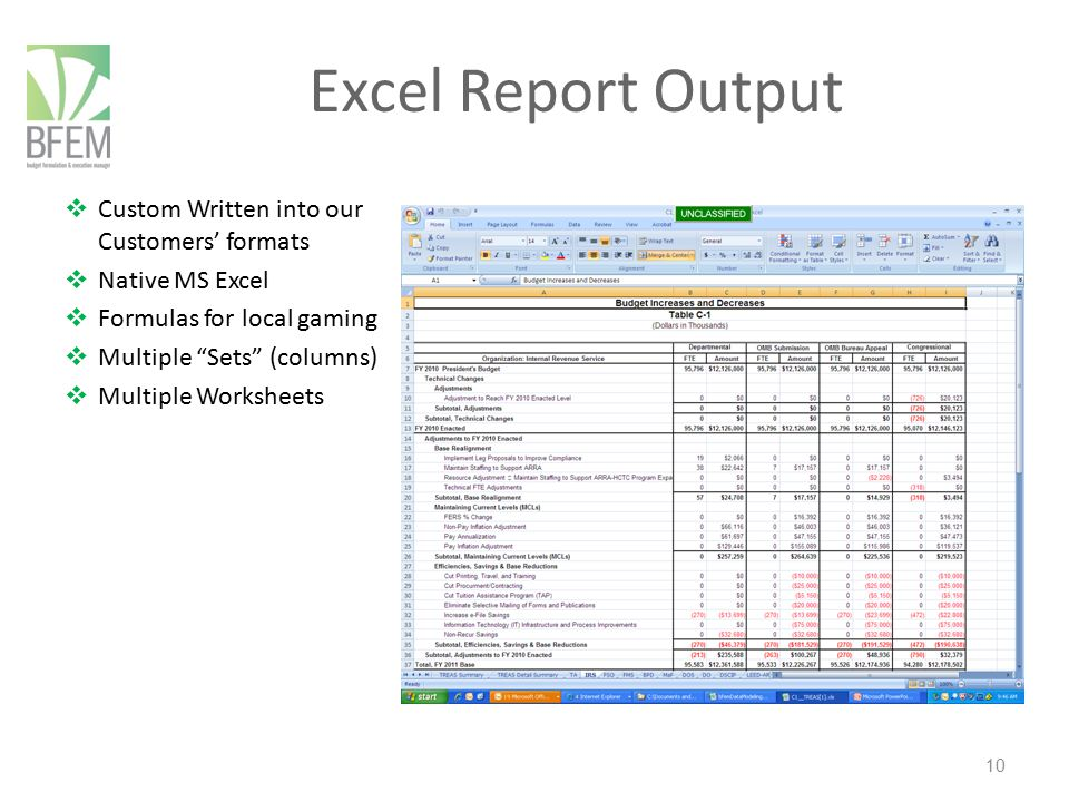 Excel Report Output Custom Written into our Customers' formats