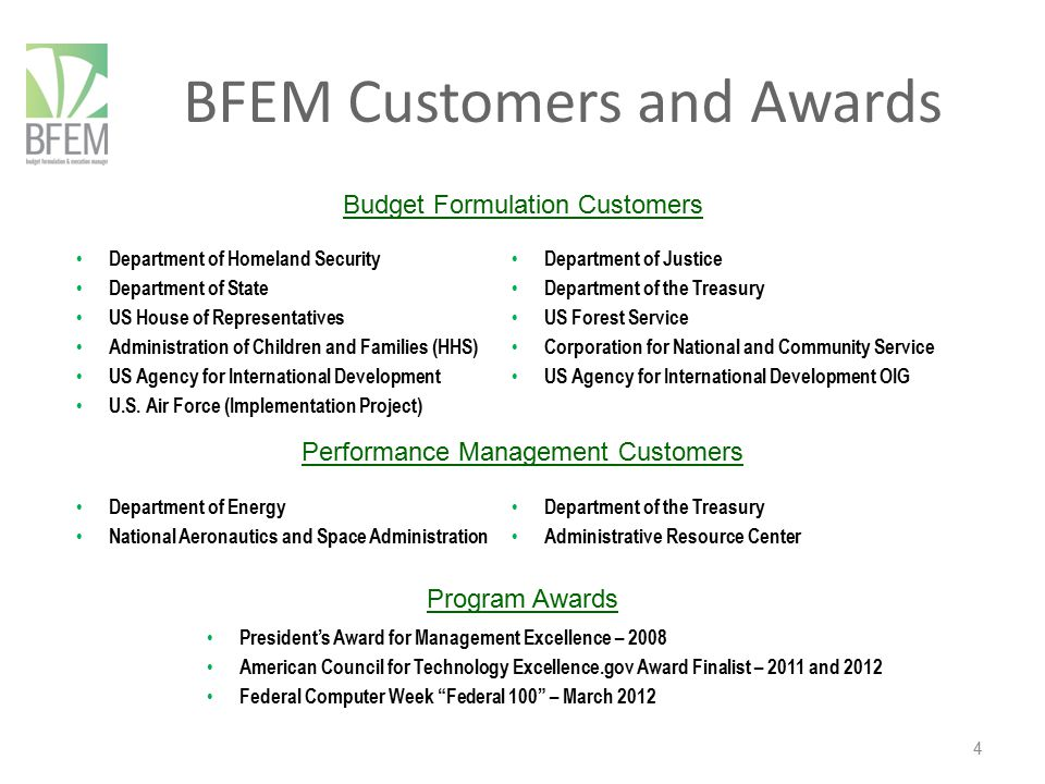 BFEM Customers and Awards